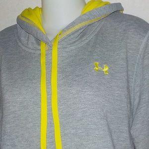 Under Armour sweatshirt hoodie sz L 12 14 gray EUC